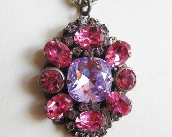Vintage Jeweled Liz Palacios Pink Rhinestone Designer Pendant Necklace