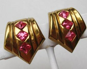Vintage 40s Coro Gold & Pink Jeweled Rhinestone Gold Screwback Earrings
