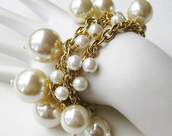 Vintage 80s Big Faux Pearl Gold Chain Link Triple Strand Toggle Clasp Bracelet