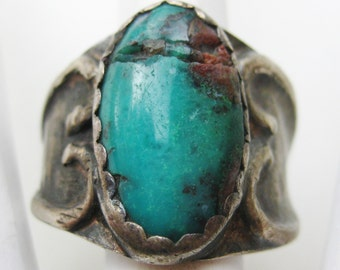 Vintage Mens Old Sterling Pawn Silver Turquoise Navajo American Indian Ring size 11