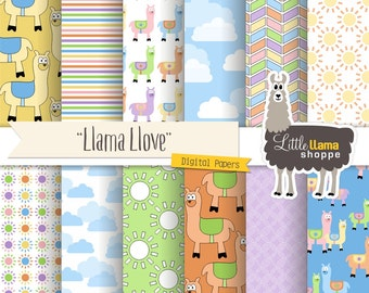 Llama Digital Paper, Alpaca Scrapbook Paper, Llama Clip Art, South American Digital Paper, INSTANT DOWNLOAD, Commercial Use