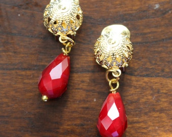 Clip On Earrings Red and Gold Clip On Earrings