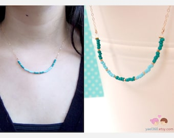 Turquoise and Emerald colored beads necklace, ocean breeze and forest colors