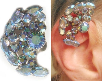 Swarovski Crystal No Pierce Earring - Crystal Ear Cuff - Blue Purple Pink Crystal Ear Wrap