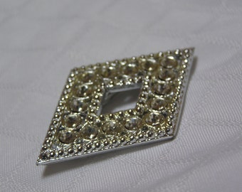 Vintage Diamond Shaped Diamond Imitator Brooch
