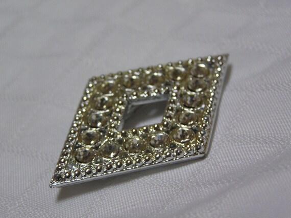 Vintage Diamond Shaped Diamond Imitator Brooch