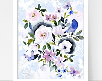 Art Print Hydrangea and Parisian Garden