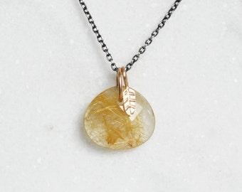 Rutilated Quartz Leaf Charm Necklace - Sterling and 14k Gold - OOAK