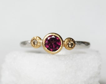 Diamond and Garnet Ring - 18k Gold and Sterling Wildflower Ring
