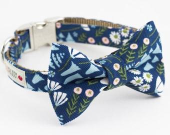 Blue Floral Corduroy Dog Bowtie Collar