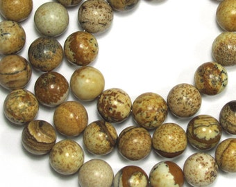 Picture Jasper 8mm Round Gemstone Beads
