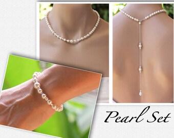Pearl Back Drop Bridal SET, Pearl Necklace & Bracelet Set, Pearl Jewelry Set, Backdrop Necklace Set