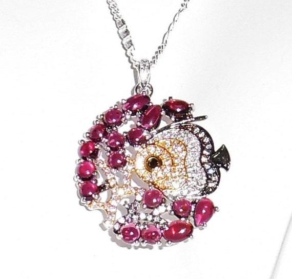 Pink Raspberry Rhodolite Garnet, CZs, 14kt yellow, white gold Fish Pendant & Chain