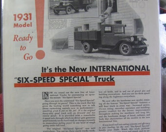 January 1931 International Harvester Truck Six Speed Special Full Page Ad Country Gentleman
