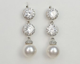 Bridal Cubic Zirconia Crystal Earrings, Swarovski Pearls, Stud Earrings, Scarlet - Will Ship in 1-3 Business Days