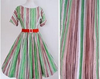 1950s Green stripe cotton day dress / 50s printed full skirt dress - S