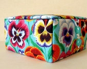 Floral fabric covered jewelry box, keepsakes box or decorative storage box