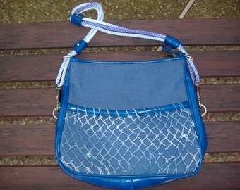 Blue Denim and Vinyl Handbag with Rope Handle and Nautical Fishnet Pocket