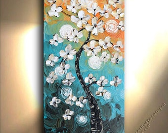 Flowers Canvas Art ORIGINAL Painting Oil Textured Palette Knife on canvas Flowers Daisies Painting Home Decor original artwork Fine art
