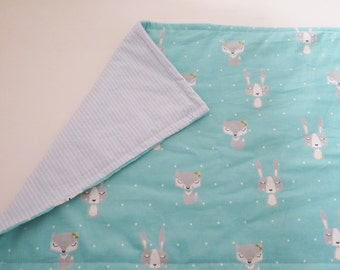 Homemade quilt , fox baby blanket , fox baby quilt , woodland animals , baby boy bedding , personalized baby blankets , baby quilts for sale