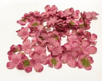 Artificial Flower Petals - 50 Hydrangea Blossoms in Mauve Green - Silk Flowers, Flower Crown