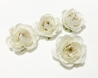 4 Artificial IVORY Ranunculus Flowers - 3 Inches - Artificial Flowers, Silk Flowers