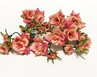 24 CORAL PINK Mini Roses - Artificial Flowers, Artificial Flowers, Flower Crown, Wedding, Millinery