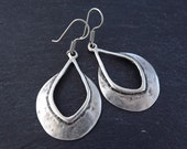 Tribal Teardrop Silver Ethnic Earrings - Authentic Turkish Style