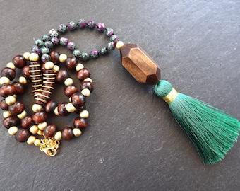Long Beaded Tassel Necklace Gypsy Jewelry Hippie Bohemian Artisan -  Green Purple Wooden Beads