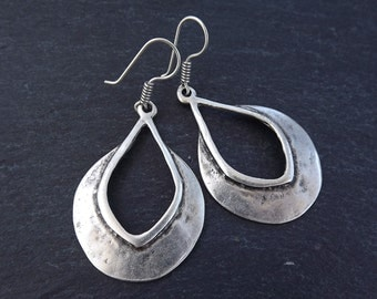 Tribal Teardrop Silver Ethnic Earrings - Authentic Turkish Style