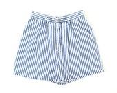 VINTAGE Lee Denim Shorts Blue White Stripe Jeans High Waist