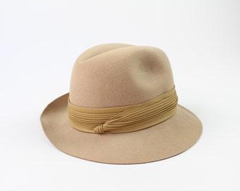 VINTAGE Fedora Hat 1970s Tan Wool Felt