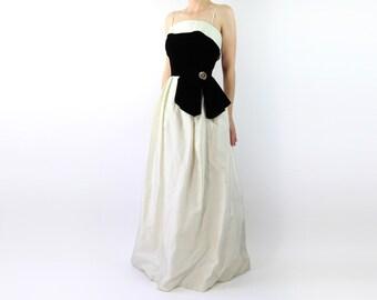 VINTAGE 1950s Black White Gown Velvet Dress Crinoline
