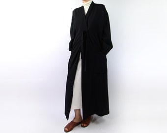 VINTAGE Kimono Black Wool Jacket Dress