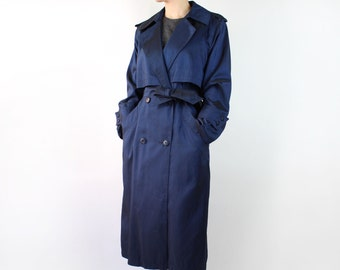 VINTAGE 1980s Metallic Blue Trench Coat Belted Small