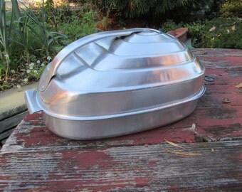 Vintage Modern Turkey Holiday Roaster Schlenzig Germany Bauhaus Art Deco Beehive Aluminum