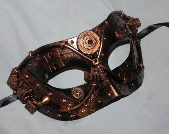 Copper and Black Mask with Steampunk Detailing - Steampunk Mask