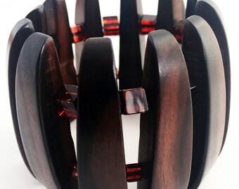 Ebony Wood and Baltic Amber Bracelet