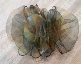 Vintage Green Brown Blue and Gold Muted Tones Organza Barrette French Clip