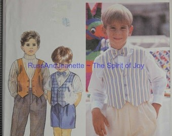 Size 2 3 4 Toddler Boys Simplicity 8831 Pants or Shorts Lined Vest & Bow Tie Formal Causual Kids Children Uncut Sew Sewing Patter Pattern