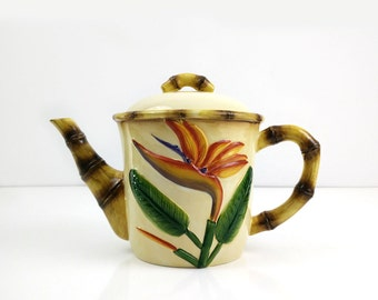 Birds of Paradise Teapot / Pacific Rim China / Ceramic Bamboo / Exotic Flowers