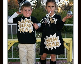 New Year's Eve Sibling Set - Girls Dress and Boys Top - Pretty Golds New Years Eve Children Clothing - Infant Toddler Youth Sizes