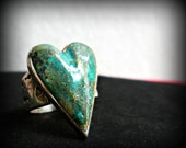 Turquoise and Sterling Heart Ring