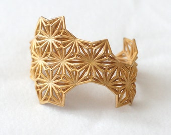 Sacred Geometry 3d Printed Cuff Bracelet- Polished Gold