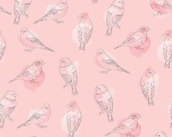 Desert Bloom Fabric Bird in Pink by Amanda Herring - Half Yard