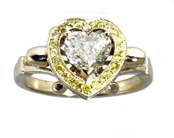 Skull of hearts pale yellow diamond ring