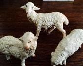 Vintage Nativity Sheep Set of Three - Farm Animals - Miniature Animals