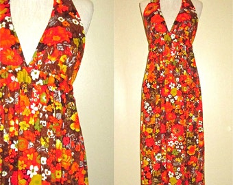 Vintage boho hippie retro 60's BRIGHT FLORAL halter maxi dress - XS/S