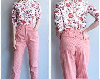 1990s Pants // Candy Striped Pants // vintage 90s pants