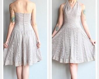 20% Sale 1950s Dress // Lavender Storm Dress // vintage 50s lace halter dress